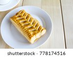 corn pie and coffee cup on... | Shutterstock . vector #778174516