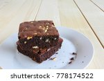 chocolate brownie  on wooden... | Shutterstock . vector #778174522