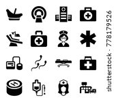 Set Of 16 Clinic Filled Icons...