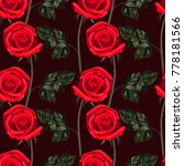seamless pattern of red flowers ...   Shutterstock .eps vector #778181566