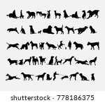 Stock vector silhouette of dog icons set vector illustration 778186375