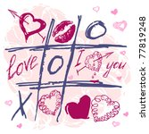 hand drawn tic tac toe hearts ... | Shutterstock .eps vector #77819248