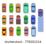 cars and trucks top view flat... | Shutterstock .eps vector #778201216