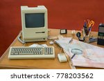 messy vintage desk with... | Shutterstock . vector #778203562