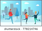 jogger running on background of ... | Shutterstock .eps vector #778214746