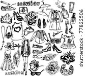 Fashion Hand Drawn Doodle Set
