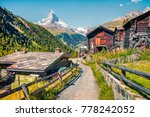 sunny summer morning in zermatt ... | Shutterstock . vector #778242052