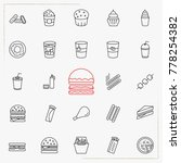 fast food line icons set | Shutterstock .eps vector #778254382