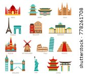 travel icons set with world... | Shutterstock .eps vector #778261708