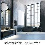modern loft bathroom interior...   Shutterstock . vector #778262956