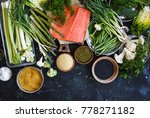raw fish veggies cereals.... | Shutterstock . vector #778271182