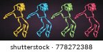 dance silhouette neon light... | Shutterstock .eps vector #778272388