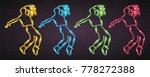 dance silhouette neon light...