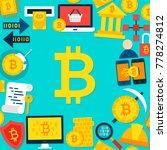 bitcoin flat template. vector... | Shutterstock .eps vector #778274812