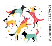 bright  simple print of 5 dogs. ... | Shutterstock .eps vector #778279606