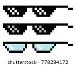 pixel glasses set. three pairs... | Shutterstock .eps vector #778284172