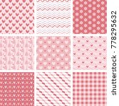 set of 9 sweet pink seamless... | Shutterstock .eps vector #778295632