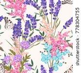 lavender flowers seamless... | Shutterstock .eps vector #778304755