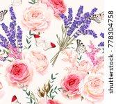 lavender flowers seamless... | Shutterstock .eps vector #778304758