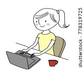 cute young woman using laptop... | Shutterstock .eps vector #778319725