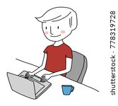 cute young man using laptop... | Shutterstock .eps vector #778319728