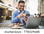 man is having coffee break... | Shutterstock . vector #778329688