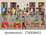 library interior with people... | Shutterstock .eps vector #778338922