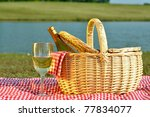 bottle of white wine in picnic... | Shutterstock . vector #77834077
