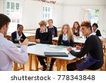 teenage students listening to... | Shutterstock . vector #778343848