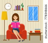young woman reads sitting in a... | Shutterstock .eps vector #778348666