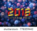 happy new year 2018 with blue... | Shutterstock .eps vector #778359442