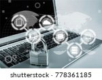 lock on the laptop   Shutterstock . vector #778361185