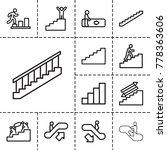 Stair Icons. Set Of 13 Editabl...