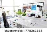 computer with portfolio website ... | Shutterstock . vector #778363885