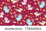 cute pattern with unicorns.... | Shutterstock .eps vector #778369042