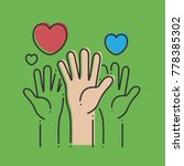the hands with hearts on a...   Shutterstock .eps vector #778385302
