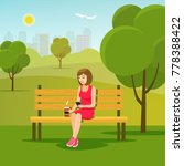young woman relaxing on bench... | Shutterstock .eps vector #778388422