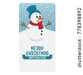 snowman christmas card | Shutterstock .eps vector #778398892