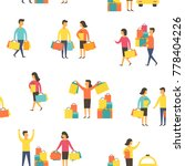 shopping people  man and woman... | Shutterstock .eps vector #778404226