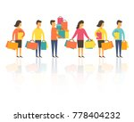 shopping people  man and woman... | Shutterstock .eps vector #778404232