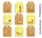 christmas labels with dogs | Shutterstock . vector #778408552