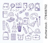 a set of school subjects on a... | Shutterstock . vector #778408702
