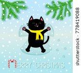 merry christmas. black smiling... | Shutterstock .eps vector #778419088