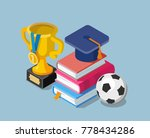 flat education concept with