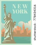 nyc and statue of liberty with... | Shutterstock .eps vector #778434316