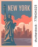 new york retro poster. vintage... | Shutterstock .eps vector #778434325