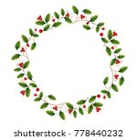 wreath of holly | Shutterstock .eps vector #778440232