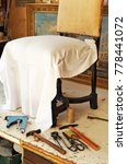 Small photo of Upholsterer workshop, work tools
