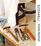 Small photo of Upholsterer workshop, work tools