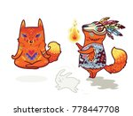 set of two cute baby fox... | Shutterstock .eps vector #778447708